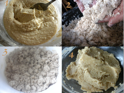 Step by step photos for making Kahk cookies