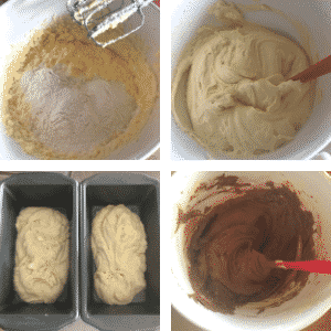 steps to make moist and fluffy pound marble cake.
