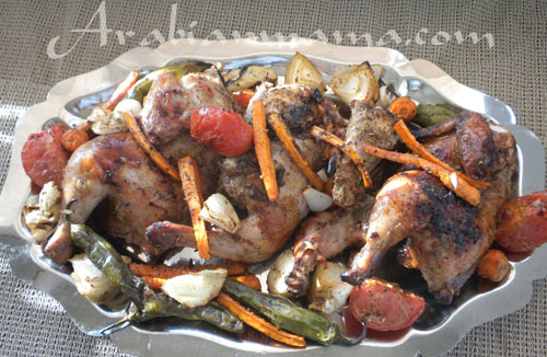 A plate of food with Sumac chicken