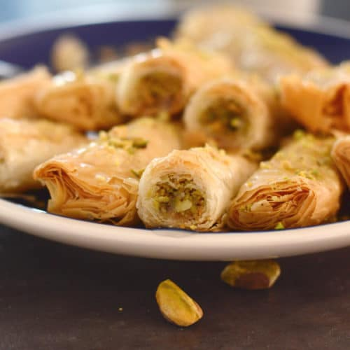 Authentic Baklava Recipe Baklava Rolls Amira S Pantry