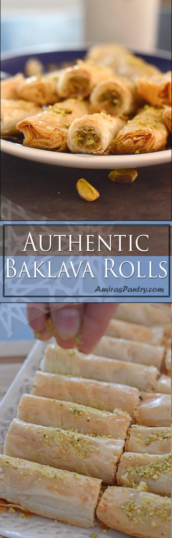 An infograph for Baklava rolls on a plate