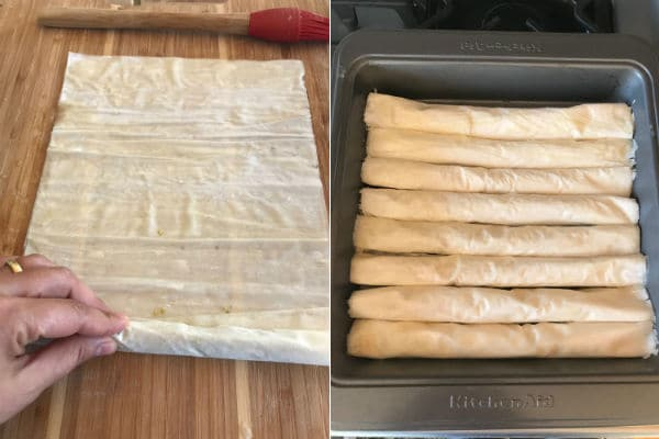 Step by step photos on making Baklava Rolls recipe