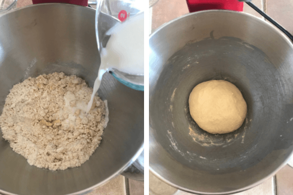 Make the sweet bread roll : 4th step add milk and knead