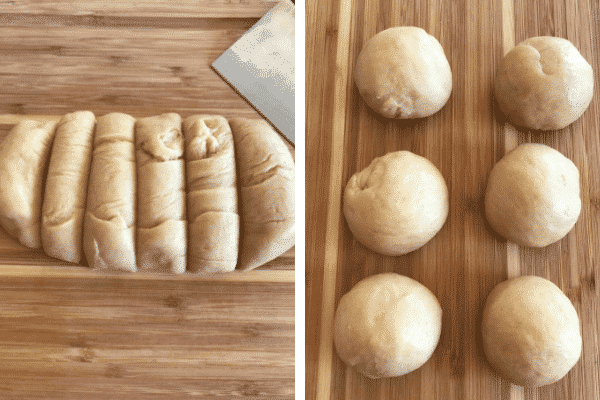 Make the sweet bread roll : sixth step divide the dough