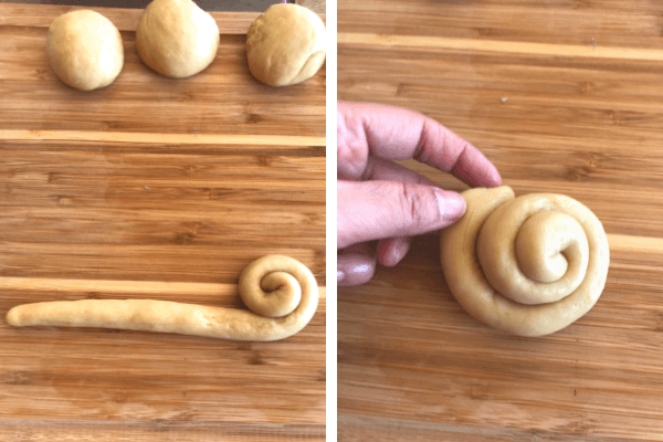 Make the sweet bread roll : seventh step shape the rolls