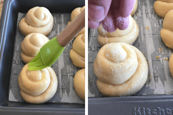 Make the sweet bread roll : 8th step brush with egg wash, sprinkle sugar and bake