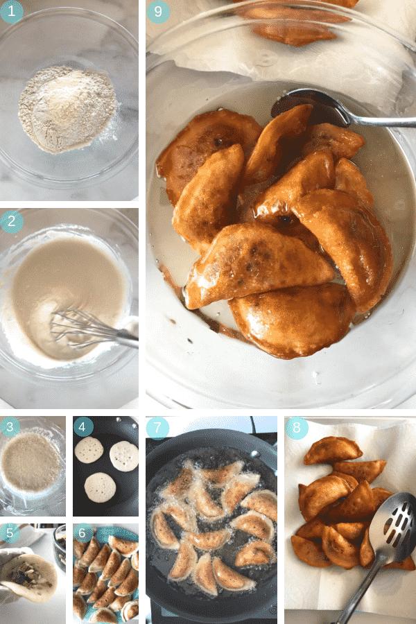 Step by step photos for making Qatayef