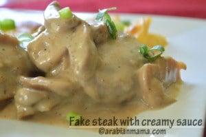 My healthy kitchen: Fake steak with creamy sauce
