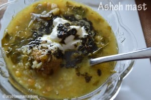Asheh Mast, a Persian soup