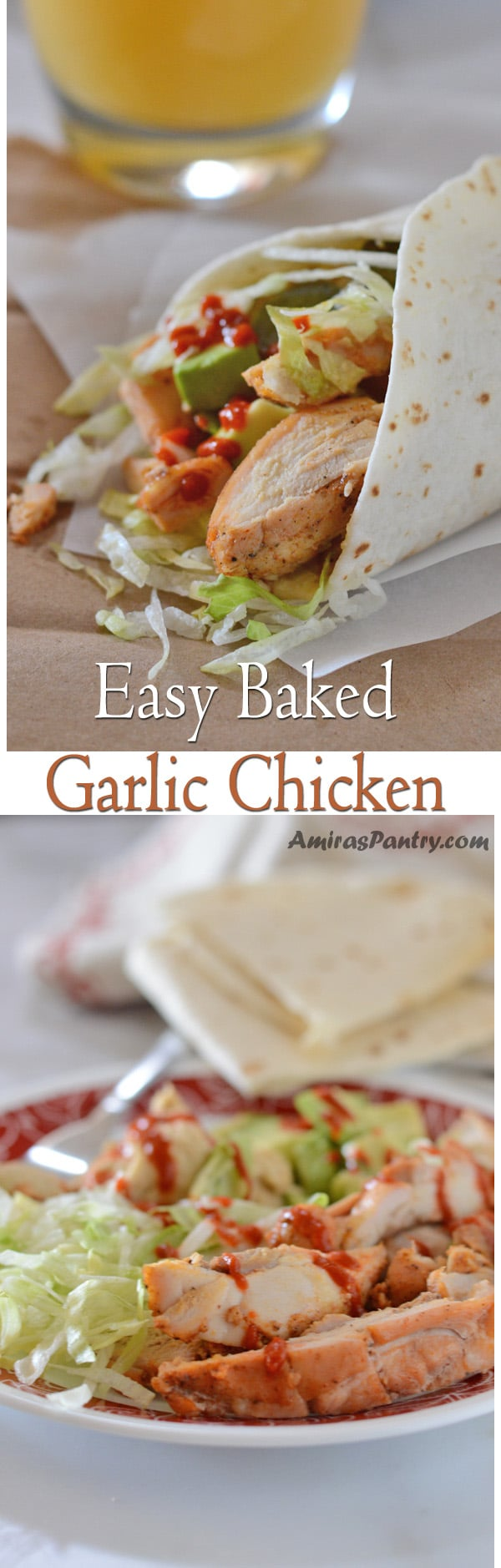 Easy baked garlic chicken is a quick easy chicken dinner for those busy nights. This is my go to chicken recipe. So easy to make and it always turns out perfect! I usually double the recipe and freeze.