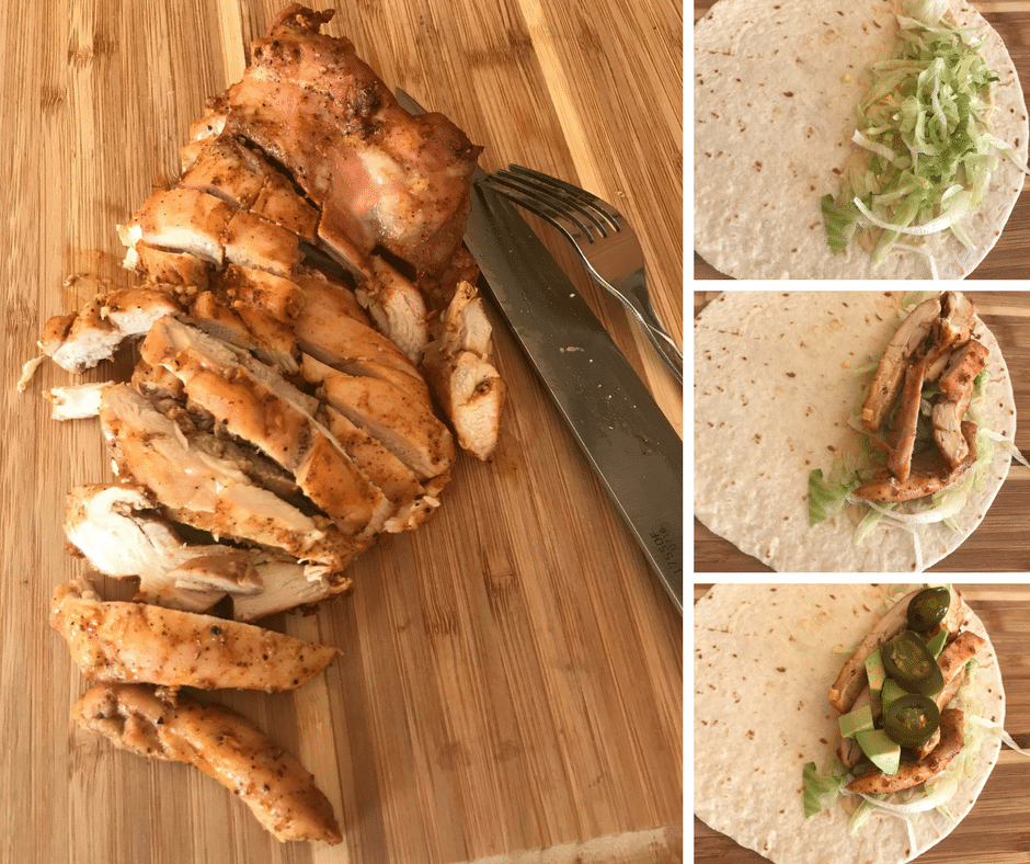 Chicken being sliced and then making a wrap of hummus,lettuce,pickles and the chicken.