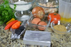 A photo showing ingredients for making Libyan Merayesha recipe