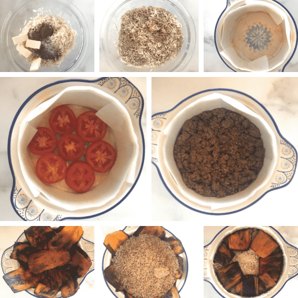 Step by step photos on how to make maqluba