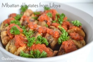 Mbattan batata bel lahm ( fried, stuffed potato pockets)