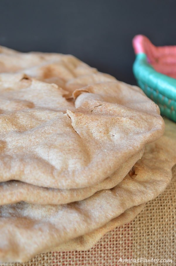 A stack of unleavened flat bread.