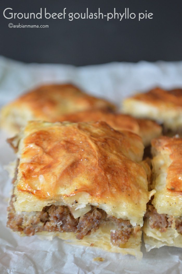 Ground beef phyllo pie