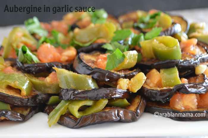 Easy aubergine garlic sauce
