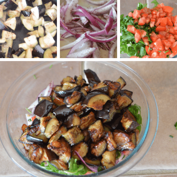 steps to show how to make easy eggplant salad