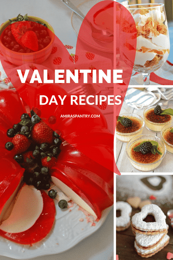 An infograph showing different recipes for Valentine day recipes