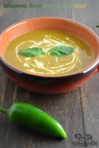 Jalapeno, basil and cilantro soup