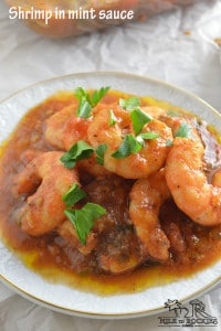 Shrimp in mint sauce