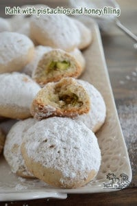 Kahk, (Eid cookies) with pistachios and honey