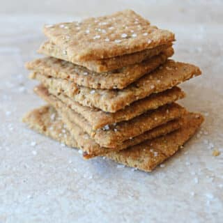 A stack of flatbread crackers sprinkled with sea salt