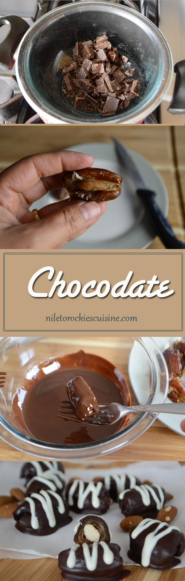 Chocodate is a Middle Eastern treat specially during the holy month of Ramadan, a special Arabian delights dates covered with chocolate and stuffed with almonds.