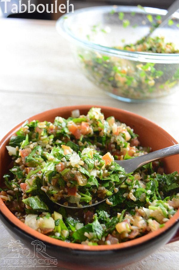 A bowl of salad, with Tabbouleh