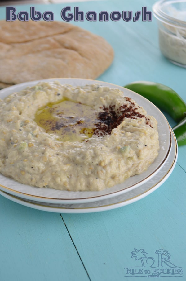 Baba Ghanoush is a rich, creamy and smoky dip/spread that is insanely good with any food you have.It is an authentic Middle Eastern dip, made with fire roasted aubergine - eggplants- and some other stuff.