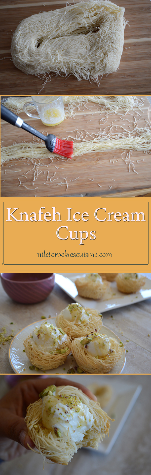 Crunchy shredded phyllo dough, beautifully wrapped around your favorite kind of ice cream, probably sprinkled with nuts and with a drizzle of honey, this is a heavenly combination of flavors. Knafeh ice cream cups is my favorite summer/Ramadan treasure.