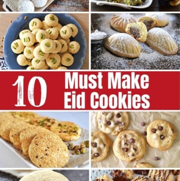 A collage of 8 images for Eid cookies.