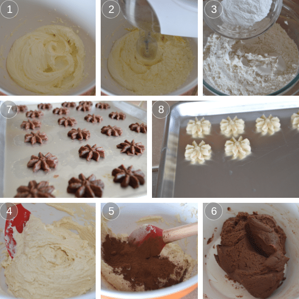 Steps for making Egyptian butter cookies