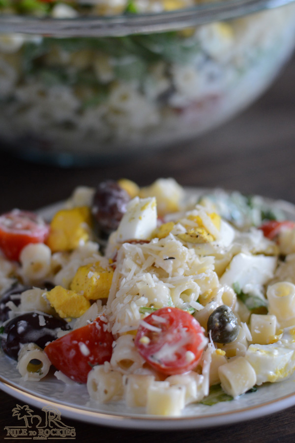 A Mediterranean twist to the classic mayo pasta salad, it is easy and colorful and goes well with your grilled meat and tasty and .... I might be a little biased here but this is REALLY DELICIOUS.