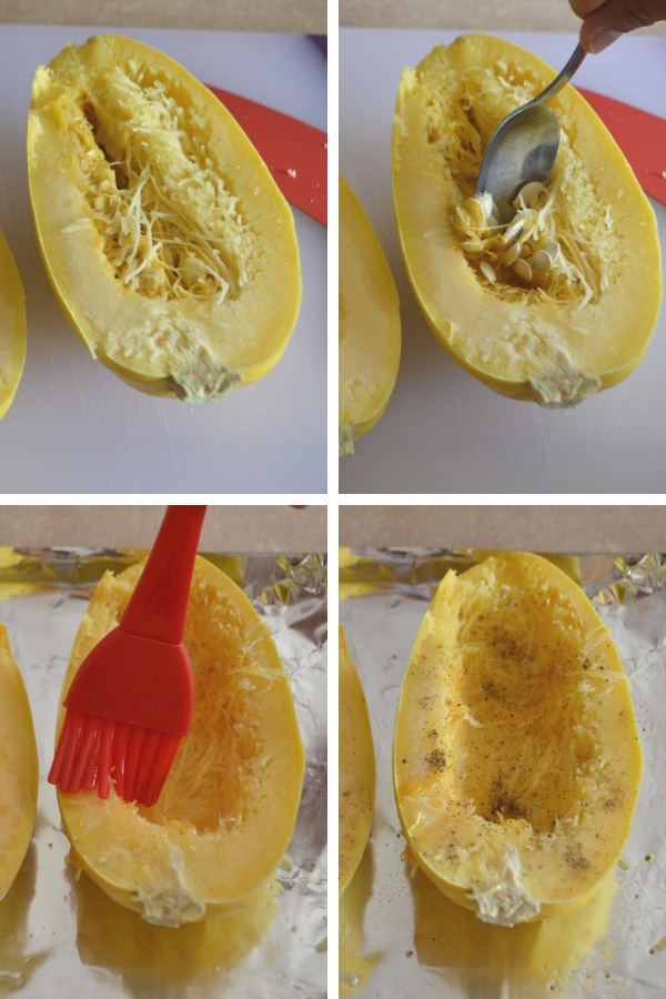 Steps for making cheesy buffalo spaghetti squash