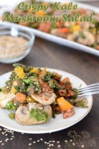 Warm crispy kale and mushroom salad
