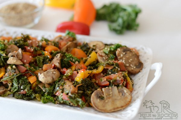 Cooked kale with meaty mushroom and fragrant sweet pepper topped with roasted sesame dressed in garlic and vinegar. A combination of flavors that will appeal to anyone especially first time kale consumers like me.