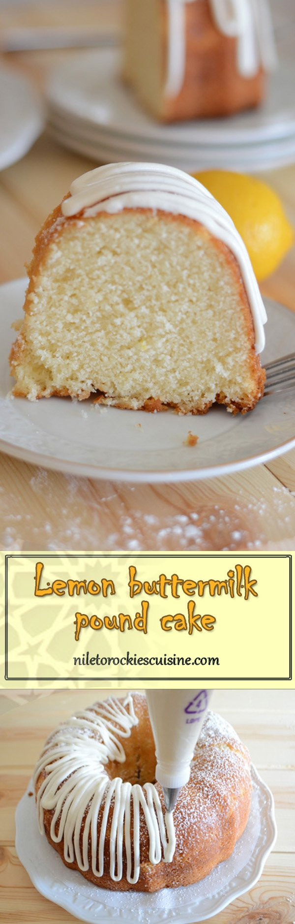 A pretty classic lemon pound cake that has a delicate and pleasant fresh lemon flavor with a dense, moist crumb.