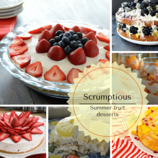 An infograph for Summer fruits recipes and cake with fruit on top of a table