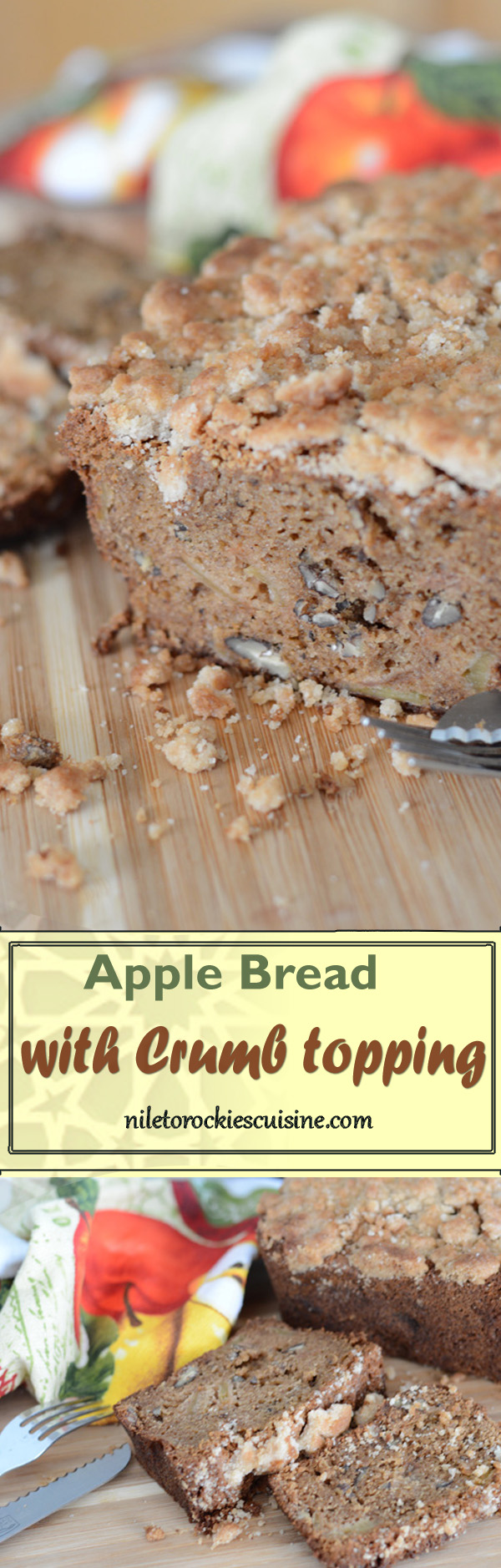 A simple and easy apple bread recipe, a Fall delight, filled with fall aromas, for breakfast, dessert or just an in-between meal snack with a cup of coffee watching the golden leaves fall down 🍂 🍂. So warm yourself up with this really delicious apple cinnamon bread with crumb topping.