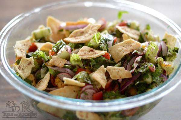 A big bowl of fattoush salad.