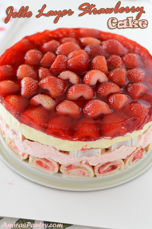 A simply delicious strawberry cake recipe that is super flavorful, sweet and very tall. A no bake jello layer cake that is gorgeous and easy to make with fresh strawberries for jello lovers.