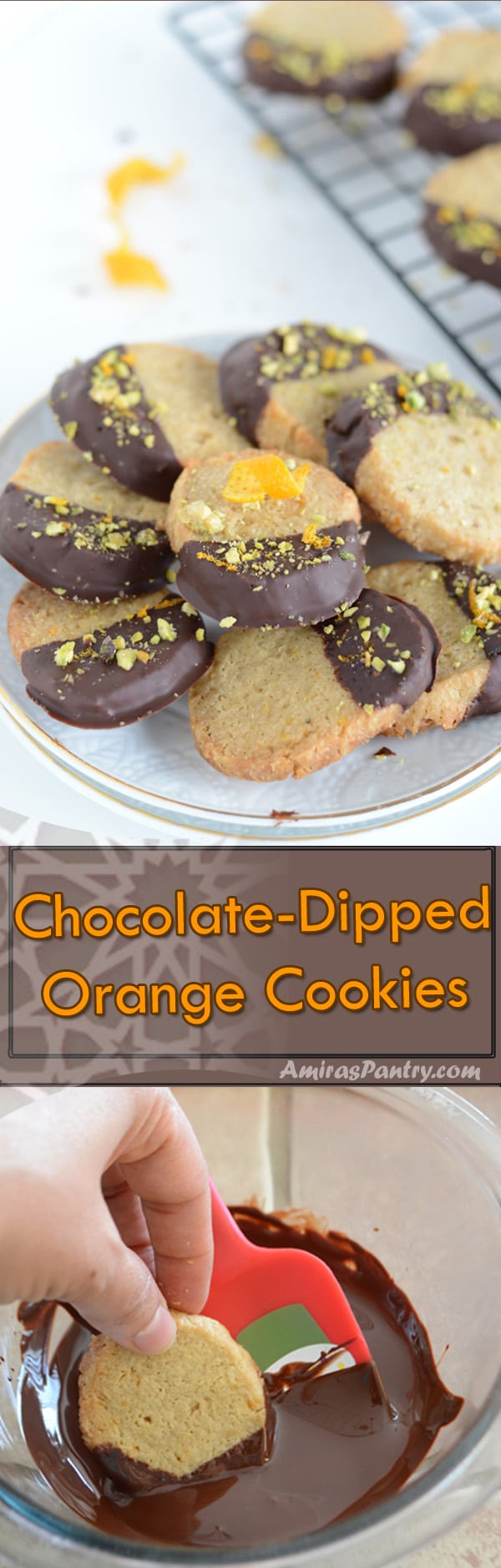 Easy orange cookies, dipped in dark chocolate and sprinkled with orange zest and pistachios. Perfect for tea time or coffee time.