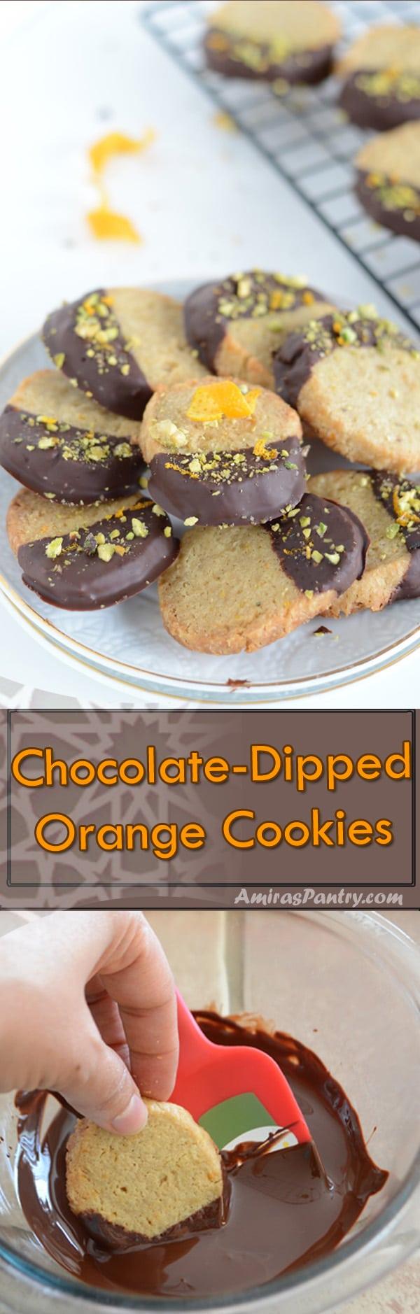 Chocolate-dipped Orange cookies | Amira's Pantry