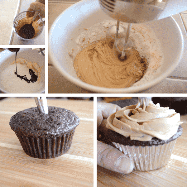 Step by step photos for making coffee cupcakes on a wooden table