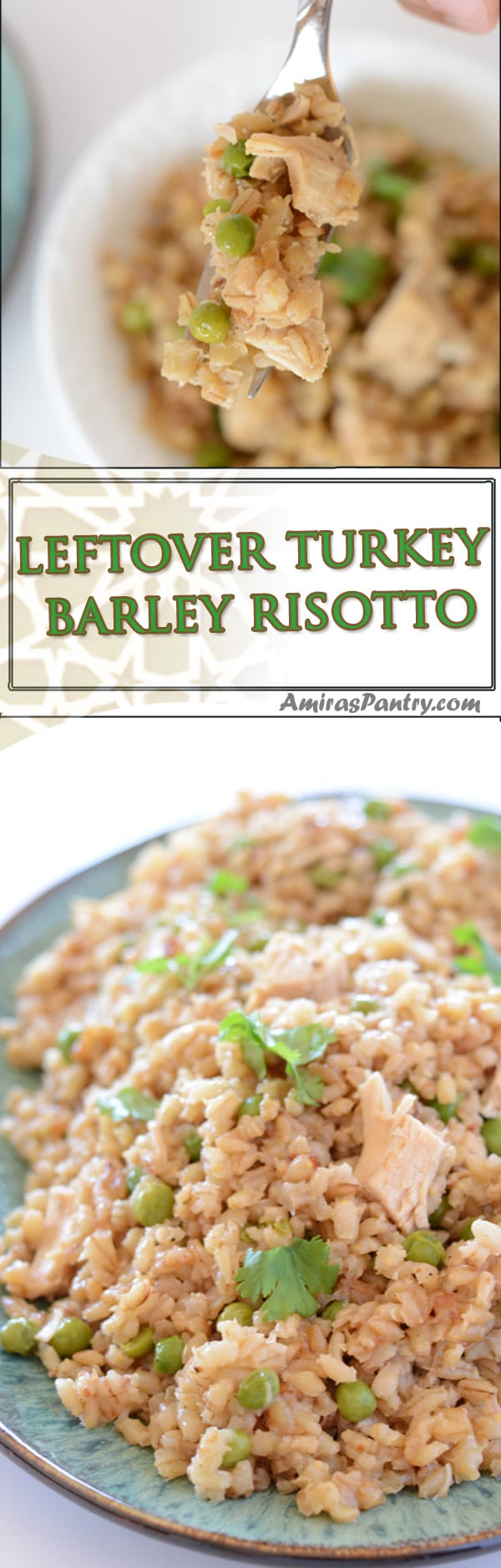 Pearl barley cooked with leftover turkey in a delicious risotto style. A healthy bowl with Thanksgiving goodness.