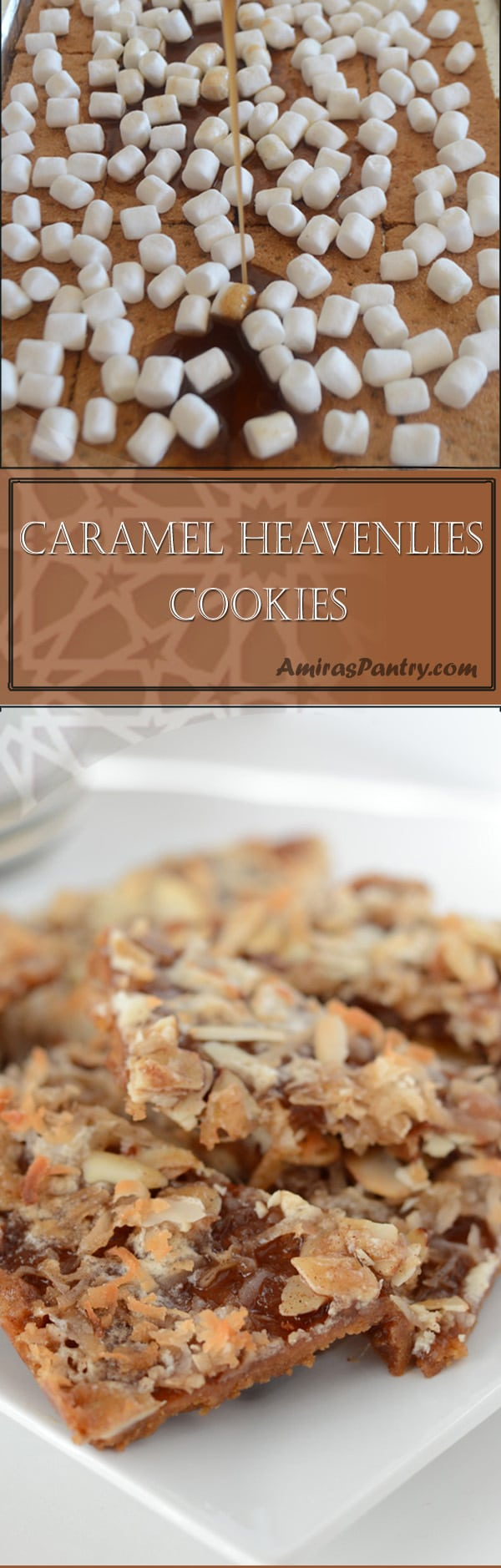 caramel heavenlies is simply caramel marshmallow with graham crackers. This is an easy, chewy and delicious cookie! I might even say, candy.