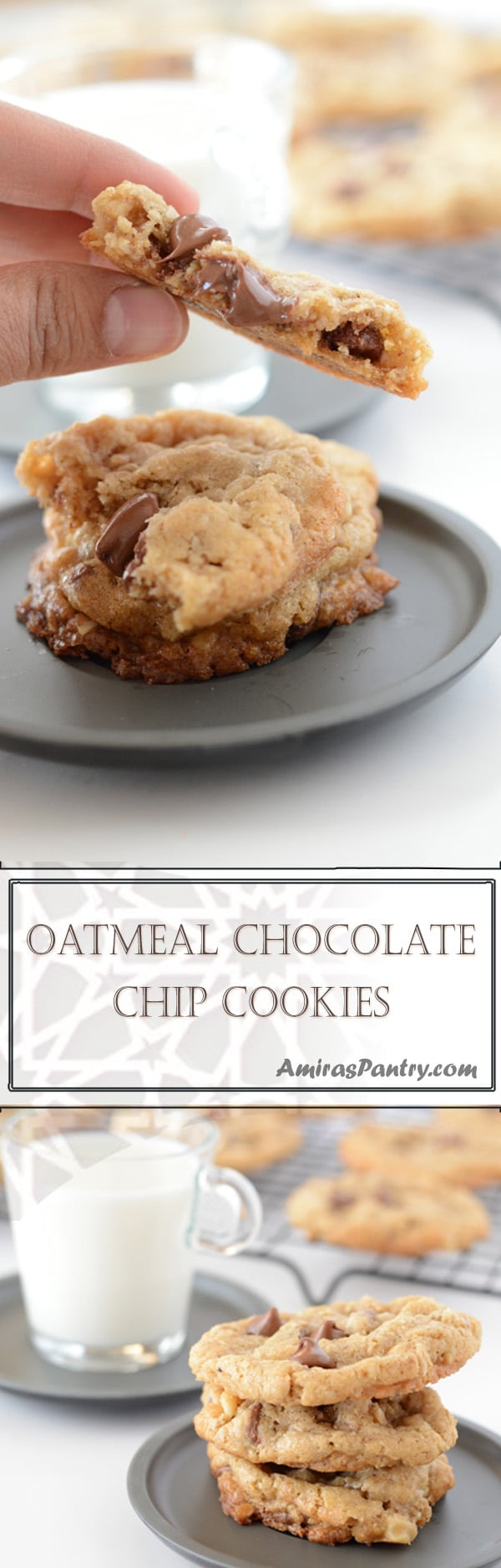 To die for old fashioned oatmeal cookies, thick and chewy oatmeal chocolate chip cookies. These babes are chewy in the middle and a little crispy at the edges.