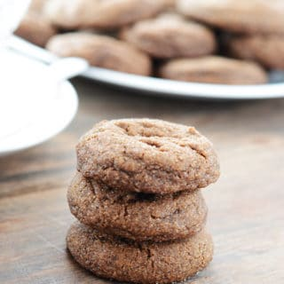 A close up of molasses cookies on a table