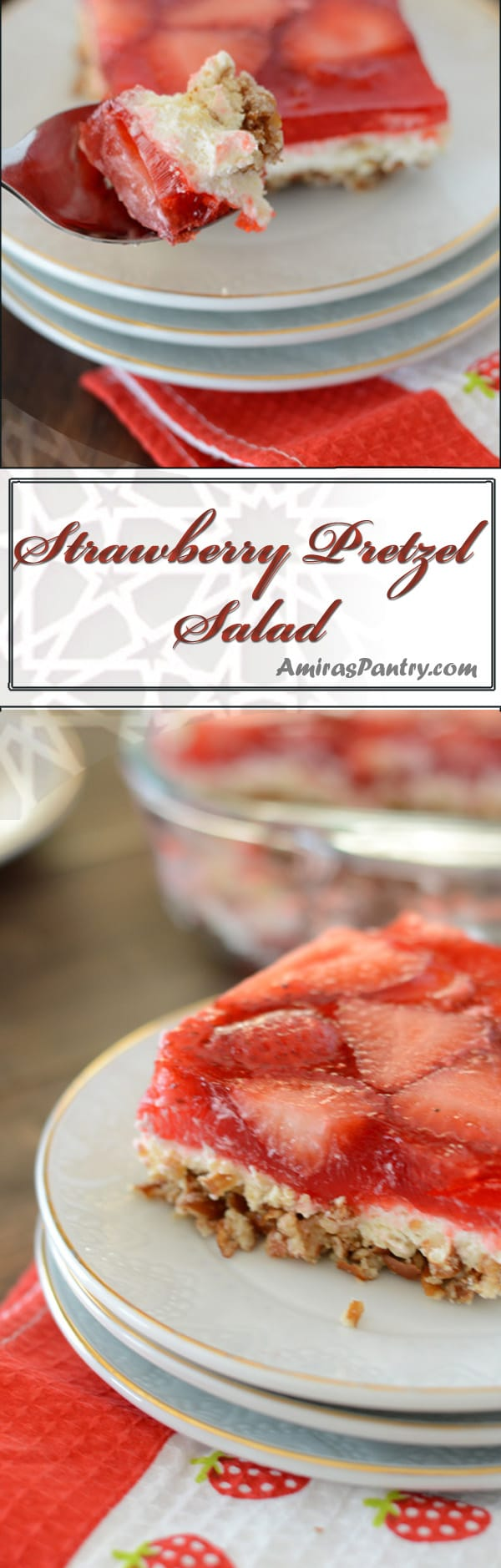 Strawberry pretzel salad is a jello pretzel cream cheese dessert topped with strawberries. The perfect sweet and salty dessert.